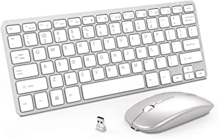 Wireless Keyboard and Mouse Combo, Inphic Rechargeable Wireless Mouse and Keyboard Combo Set with 2.4GHz USB Nano, Silent Click (65% Size-Silver)