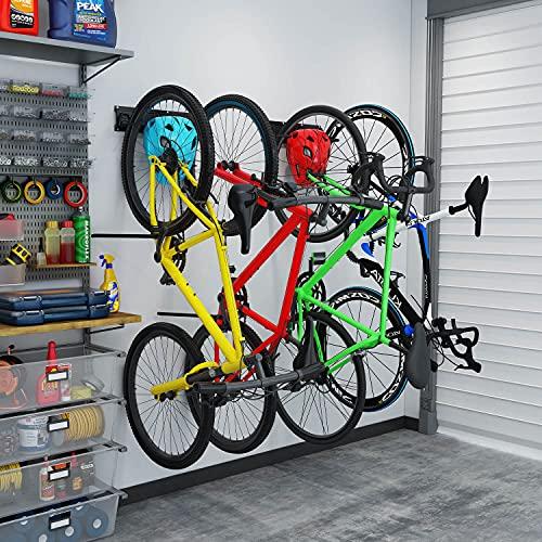 Bike Rack for Garage, 4 Bicycles Storage Racks for Home, 2 Bike Helme Hooks Storage Hanger, Indoor Bike Wall Mount, Holds Up to 310Ibs