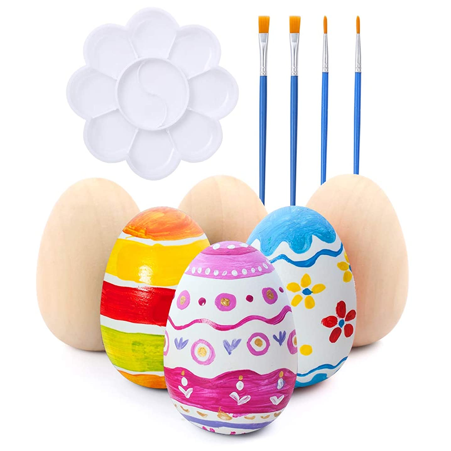 Caydo 6 Pieces Unpainted Wooden Eggs for Easter Crafts with 2 Pieces Flat Print Brush, 2 Pieces Script Liner Brush and 1 Pieces Color Palette for Easter Crafts DIY Painting and Displays