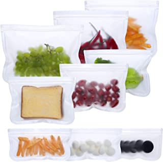 Reusable Snack Bags, Reusable Sandwich Bags, Leakproof Food Storage Bags, Extra Thick PEVA Ziplock Freezer Bags for Lunch Fruit Meat, Healthy, Eco Friendly, Bpa Free (3 Large 3 Medium 3 Small)