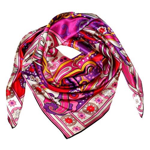 Lorenzo Cana Luxus Seidentuch aufwändig bedruckt Tuch 100% Seide 110 x 110 cm in harmonischen Farben Damentuch 89047