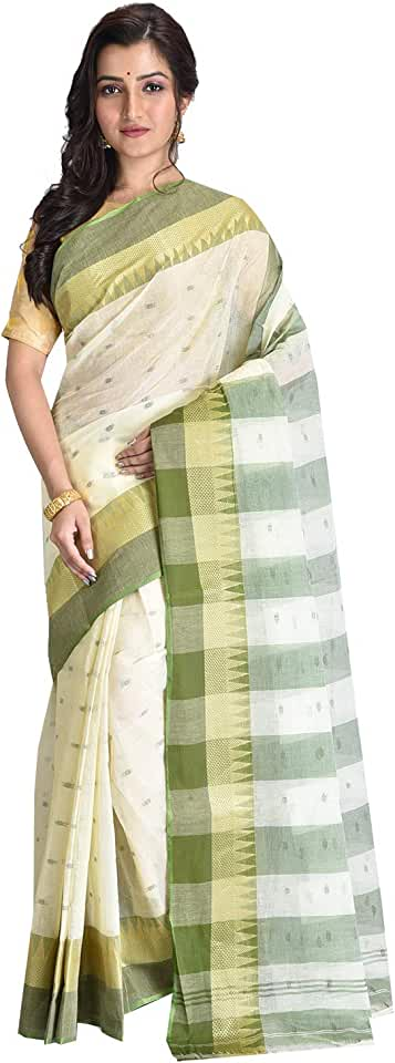 Indian Raj Sarees Women's Traditional Pure Cotton Bengali Handloom Tant Saree - Without Blouse Piece(RSH-609-01 /Off-White & Red) Saree