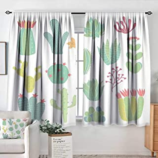 Elliot Dorothy Rod Pocket Blackout Curtain Cactus,Hand Drawn Cacti Pattern Blossoming Houseplants Potted Thorny Tropical Succulents,Multicolor,Decor/Room Darkening Window Curtains 42