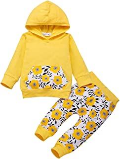 Baby Girl Boy Clothes,Kid Toddler Baby Boy Girl Hooded Long Sleeve Sunflow Print Tops+Pants Outfit Set