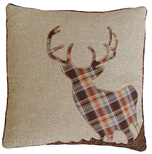Stag Cushion Covers, Wool Blend Cushion Covers, Tartan Cushions, Pillow Covers, 18' x 18' 45cm x 45cm (Natural)