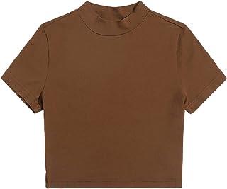 SheIn Women's Casual Short Sleeve Mock Neck Crop Tee Tops Solid T Shirts