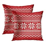 Emvency Set of 2 Throw Pillow Covers Decorative Cases Red Pattern Christmas Sweater Jumper Fair Isle 18x18 Inch Cover Cushion Pillowcase Square Case Print