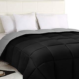 Utopia Bedding Edredón Nórdico - Edredón 300 gr/m²- (230 x 260cm) - Edredón Reversible Cama 180 (Bicolor) - Gris y Negro