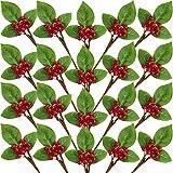 Juego de 20 Tallos de Ramita de Bayas Rojas de Navidad con Hojas Verdes Flores...