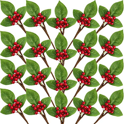 Set of 20 Christmas Artificial Holly Berries Twig Stem Artificial Flowers Winter Berries Bunch Fake Berries Bunch for Christmas Tree Decorations and DIY Craft (Red, Style A)