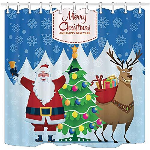 GzHQ Weihnachts-Duschvorhänge, Weihnachtsmann, Rentier, Kiefer & Baum, schimmelresistent, Polyester, Badevorhang, Duschvorhang-Set mit Haken, 180,9 x 182,9 cm, Badezimmer-Zubehör