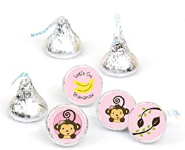 Pink Monkey Girl - Baby Shower or Birthday Party Round Candy Sticker Favors – Labels Fit Hershey's Kisses (1 Sheet of 108)