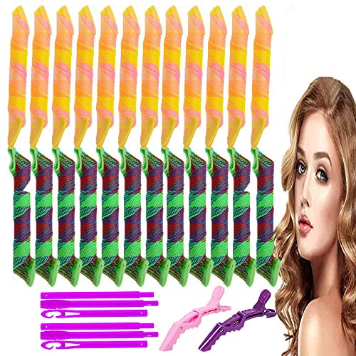Lockenwickler Curler 24 Stück Haar Lockenwickler Rollen Hair Curler Keine Hitze für Waves Styler mit mit 6 Stück Styling Haken 2 Stück Krokodil-Haarspangen(45 cm)