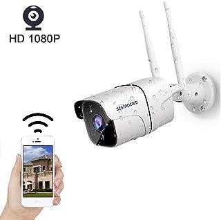 SZSINOCAM Cámara de Vigilancia WiFi Exterior 1080P Cámara de Seguridad con Visión Nocturna de 30 m Audio Bidireccional Detección de Movimiento