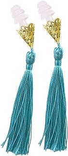 Breakfast at Tiffany's Inspired Tassel Earplugs Light Aqua Blue