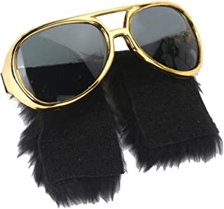 D DOLITY Funny 70s 80s Sunglasses, Gold Frame, Side Whisker, Rockstar Costume Accessories