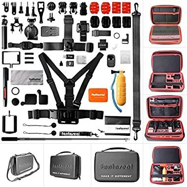 Ultimate 70in1 Combo for GoPro Accessories Kit Pack GoPro Mounts Bundle Set Starter Suit w/Hi Capacity Dual-Layer Waterproof Anti-impact Hand Bag for GoPro Hero 6 5 4 3+ 3 Session Sony Yi AKASO -13
