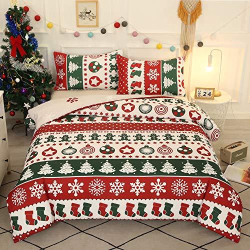 Juego de funda de edredón de Navidad, tamaño doble, diseño de copo de nieve, para decoración del hogar, de Navidad y Año Nuevo, juego de ropa de cama de microfibra suave cepillada, colección de ropa de cama de hotel con 1 funda de almohada