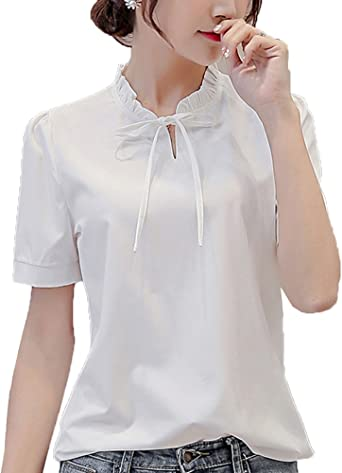 Anyu Camisetas Mujer Manga Corta Princesa Color Puro Camisas ...