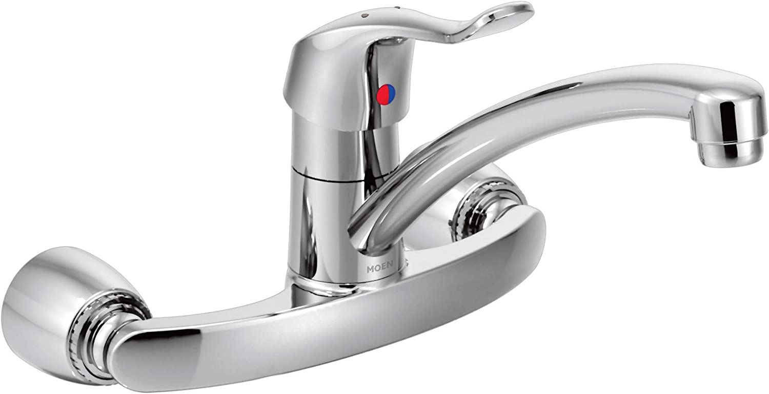 Moen 8713 Commercial M Dura One Handle Wall Mount Kitchen Faucet 1 5 Gpm Chrome Touch On Kitchen Sink Faucets