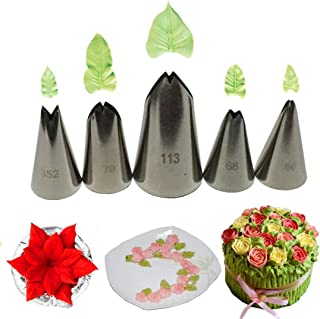 Meao 3 Pieces Piping Tips Set - Stainless Steel Piping Nozzles Kit for Pastry Cupcakes Cakes
