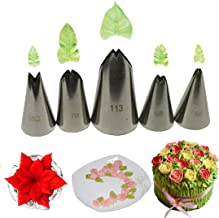 Joyeee 5 Pieces Cake Piping Icing Nozzles Cake Decorating Tips Set - Perfect Decorating Tools for Cupcakes Cakes Cookies Decorating