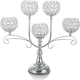 VINCIGANT Crystal Candle Holders/Candelabra Centerpiece for Wedding Dinner Part Firplace Decoration,House Decor Gift,Silver