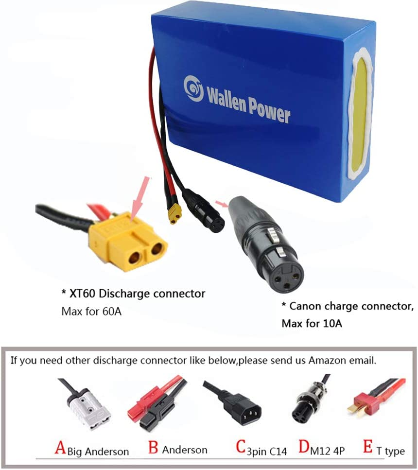 BMS Protection Plate Wallen Power Electric Bike Battery 48V 52V 15AH 20AH Waterproof Lithium Ion Battery Electric Bike Battery fit for 1000W 750W 500W Bike Motor with Charger