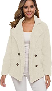 ZEVONDA Womens Fuzzy Jacket Coats - Fashion Long Sleeve Open Front Faux Shearling Shaggy Oversized Sherpa Outwear with Pockets