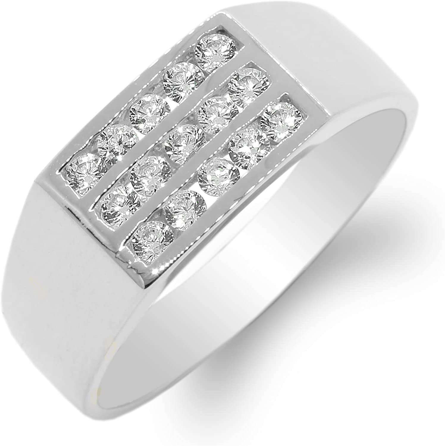JamesJenny Mens 14K White Gold Round CZ Special price Ring Some reservation Size 12 Band
