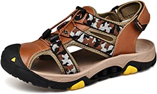 Ranipobo Sandals Casual Camouflage Color Convenient Hook&Loop Strap Outdoor Shoes for Men (Color : Brown, Size : 7 UK)