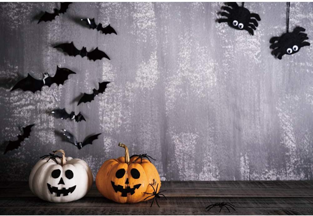 DaShan 12x10ft Horrible Halloween Backdrop Scary Spider Bats Witch Wizard Sorcerer Theme Halloween Party Photography Background House Interior Pumpkins Lamp Halloween Celebration Photo Props
