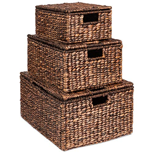 """Best Choice Products Set of 3 Large Multipurpose Hyacinth Storage Basket, Handwoven Rectangular Organizer Totes for Bedroom, Living Room, Bathroom w/Insert Handles, Removable Lid - 21"""", 20"""", 18"""""""