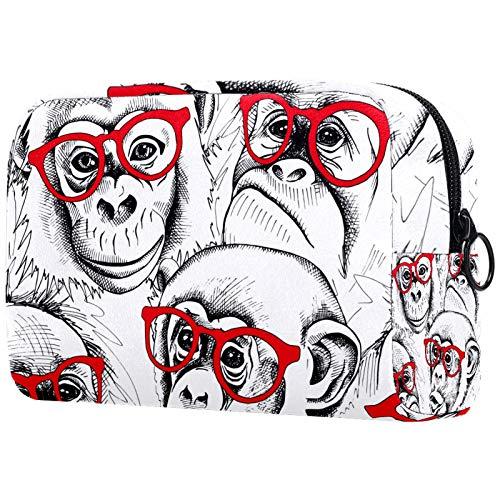 FURINKAZAN Orangutans con gafas rojas bolsa de maquillaje de viaje para artículos de tocador, bolsa de maquillaje para hombres y mujeres