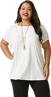 SONJA BETRO Women's Crochet Lace Trim Bell Short Sleeve Loose T-Shirt Casual Tunic Tops