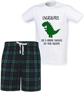 60 Second Makeover Limited Mens Engineer Dinosaur Christmas Tartan Short Pyjama Set Family Matching Twinning