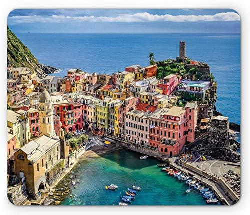 Italien Mauspad, Blick auf den Hafen im Dorf Vernazza in Cinque Terre Bunte Apartments und Boote, Rechteck Rechteck Rutschfeste Gummi-Mauspad, Mehrfarbig