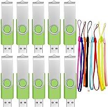 Memoria Flash USB 1 GB Pendrive 10 Piezas - Portátil Pen Drive 1GB Verde Giratorio USB 2.0 Flash Drive - FEBNISCTE Almacenamiento Externo Llave USB con 10 Paquetes Cuerdas para Trabajos Fotográficos