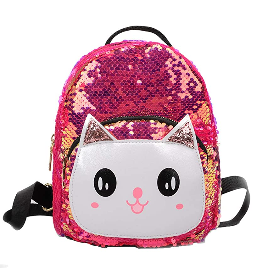 Backpacks&Travel School Children Girl Cartoon Cat Sequined Backpack Small Shoulder Bag &for Daily School Gift