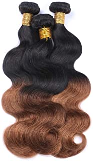 "Hairpieces Hairpieces Fashian 8""-28"" Virgin Hair Body Wave 100% Virgin Human Hair Extensions 1 Bundle Weft Weave # T1B / 30 2 Tones Color 100g / pcs for Daily Use and Party"