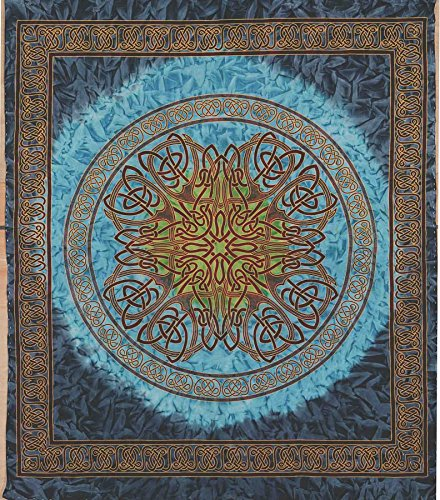 Handmade 100% Cotton Celtic Circle Wheel Of Life Batik Print Spread Tapestry Queen Blue