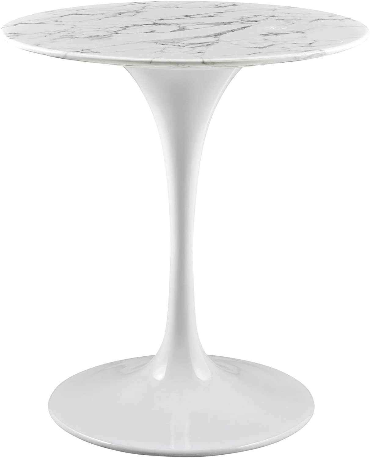 Modway Lippa Mid Century Modern 9 Inch Round Artificial Marble Dining  Table Top, White Base