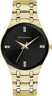 Wittnauer Women's Quartz Diamond Accent Black Dial Gold-Tone Bracelet 38mm Watch WN4095