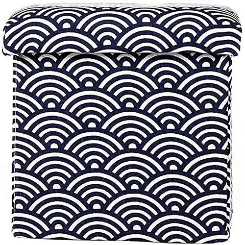 Taburetes Banco de madera GR-XMD, tela Oxford Paño Producción Portátil Plegable Otomano Caja de almacenamiento de un solo almacenamiento Taburete, ahorra espacio interior, Sofá Taburete (Color, Estilo