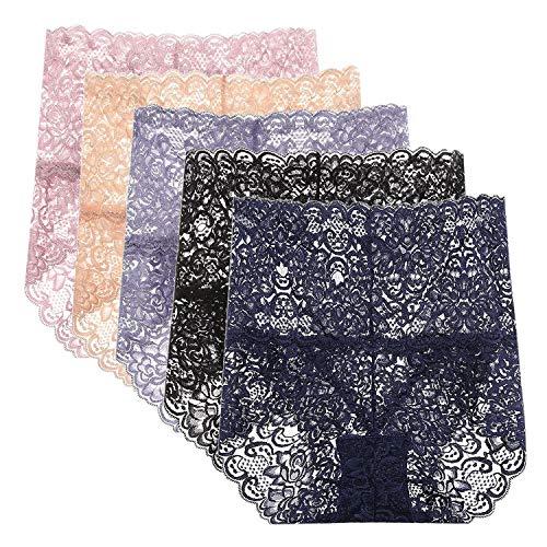 LAEMILIA Lot de 5 Culottes Femmes Slip Lâce Dentelle sous-Vêtements Haute Taille Transparent ElastiqueEU 40 (Tour de Taille 61cm)