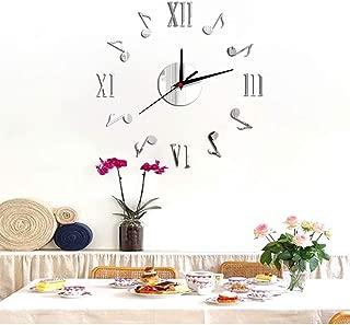 FlorLife 12 Inch Frameless Wall Clock Home Decor Clock Creative Silver Wall Art Stickers Mirror Wall Clock Fashion Modern Design DIY Acrylic 3D Mirror Wall Decal (Silver)