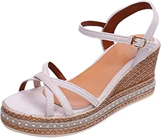 Women's Buckle Shallow Mouth Casual Shoe High-Heel Wedge Heel Female Sandals Round Toe British Wind Wedge Heel Hot