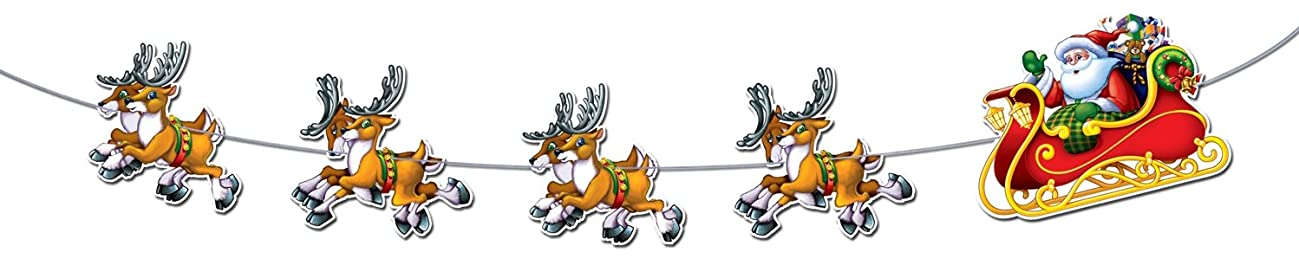 Beistle 1-Pack Santa and Sleigh Streamer, 8-Feet