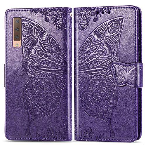 Hülle für Galaxy A7 2018 Hülle Handyhülle [Standfunktion] [Kartenfach] Tasche Flip Case Cover Etui Schutzhülle lederhülle klapphülle für Samsung Galaxy A7 2018/A750FN - DESD020111 Violett