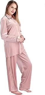 Women's Soft Velour Pajamas Sets 2-Piece Long Sleeve Button Down Shirt and Loung Pants Sleepwear